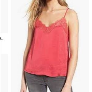 BP Lace trim satin camisole In red XL